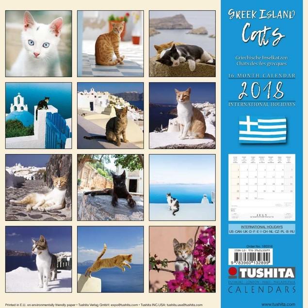 Cats Greek Island Wall Calendar, Assorted Cats by Calendars