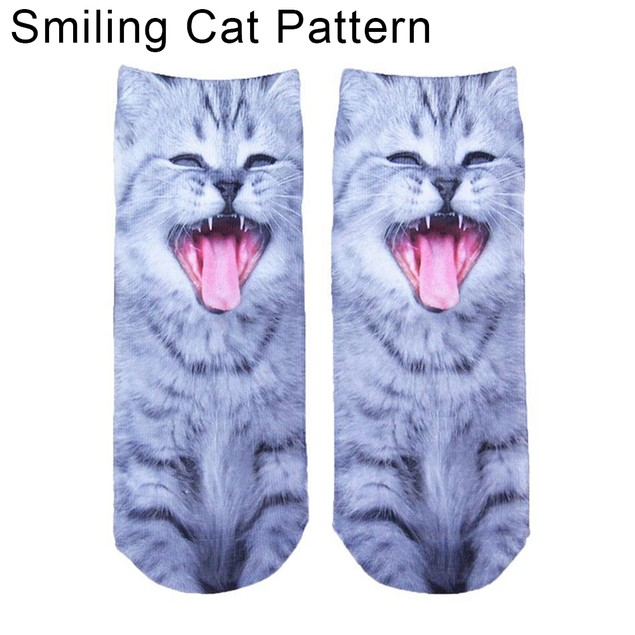 Men Women 3D Print Animal Socks Cat Low Cut Ankle Warm Socks