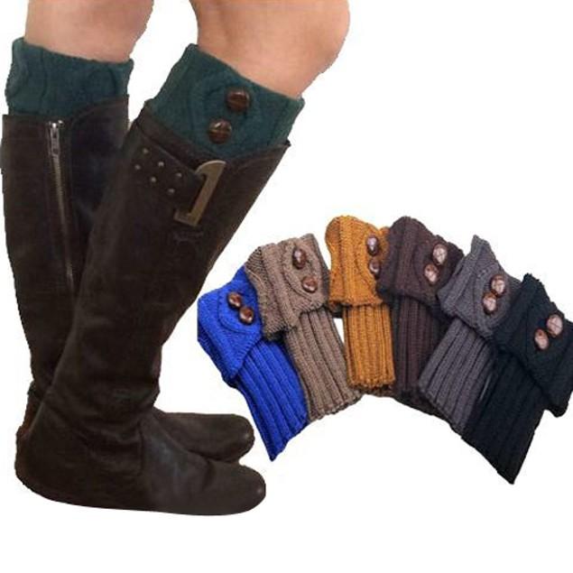 Women Winter Leg Warmer Socks Button Short Crochet Boot Cuffs