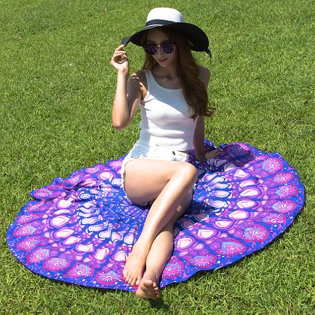 Large Round Chiffon Shawl Peacock Feather Print Gypsy Beach Throw Towel