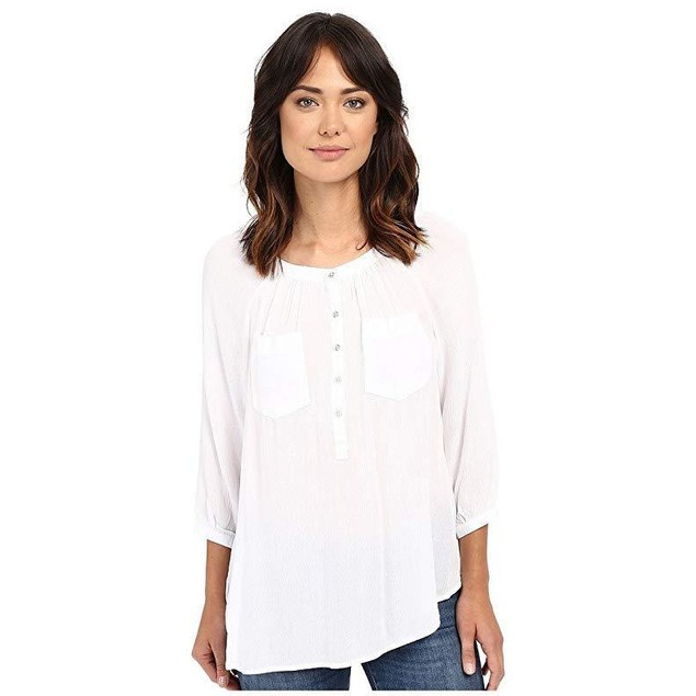 Christin Michaels Women's Seine Top White Blouse LG