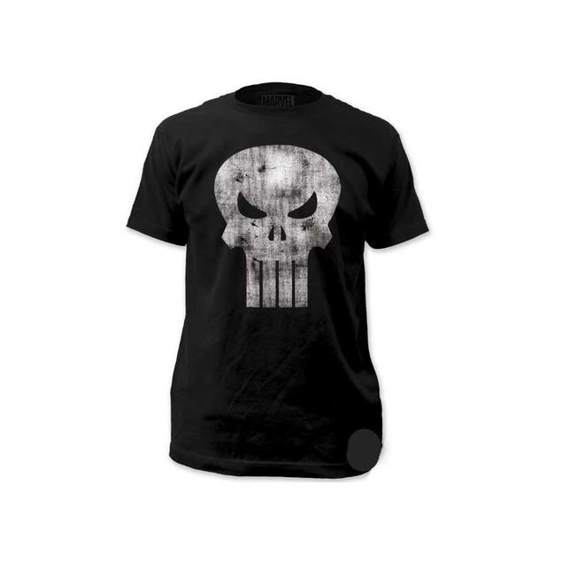 The Punisher White Logo Distressed T-Shirt