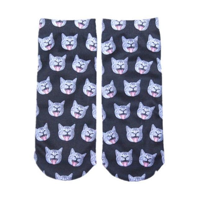 3D Women Men Animal Cat Printed Ankle Socks