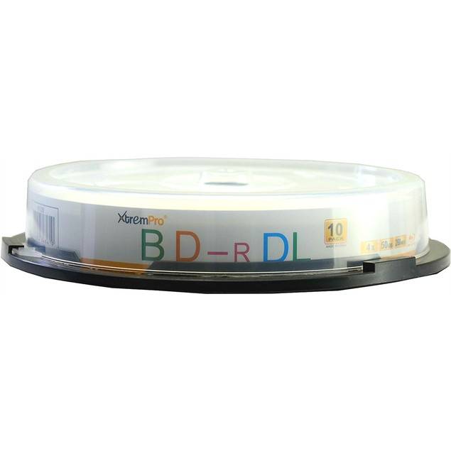 Blu-Ray BD-R DL 4X 50GB 260 Min Double Layer 10 PK Blank Disc in Spindle