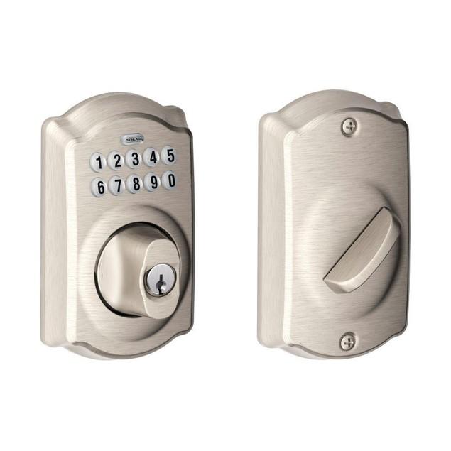 Schlage BE365 CAM 619 Camelot Keypad Electronic Door Lock Deadbolt, Satin