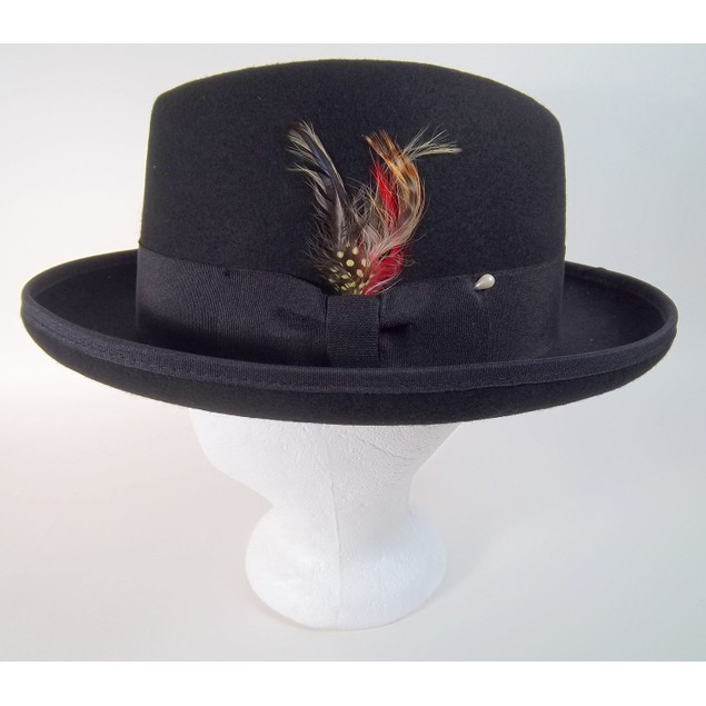 Godfather Style Black Fedora Hat With Feathers