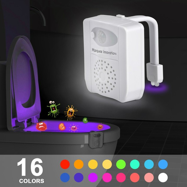 Motion Activated 16 Color UV Sterilizer & PVC Fragrance Toilet Night Light