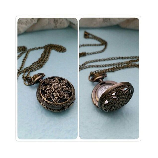 Fashion Vintage Retro Bronze Quartz Pocket Watch Pendant Chain Necklace