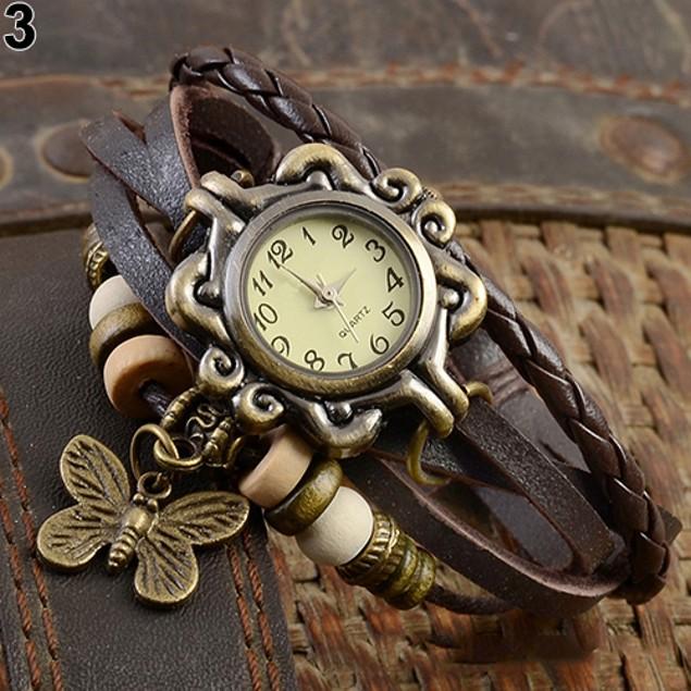 Women Vintage Multilayer Butterfly Faux Leather Bracelet Wrist Watch