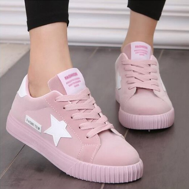 Outdoor Sports Girls Star Lace Up Flat Shoes Suede Round Toe Sneakers