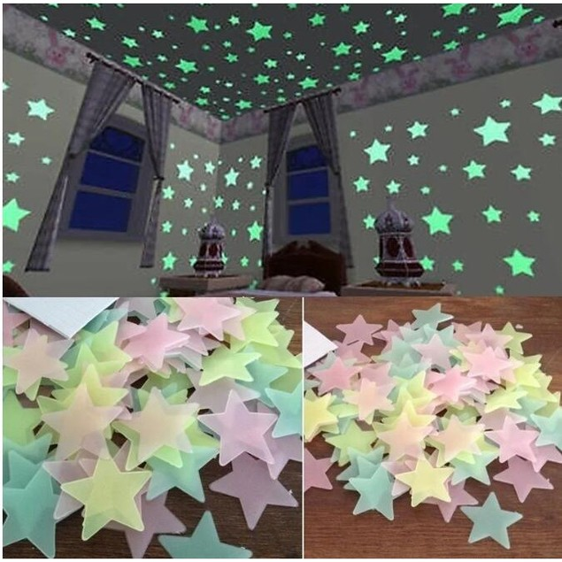100Pcs Children's Home Decoration Color Star Fluorescent Wall Sticker