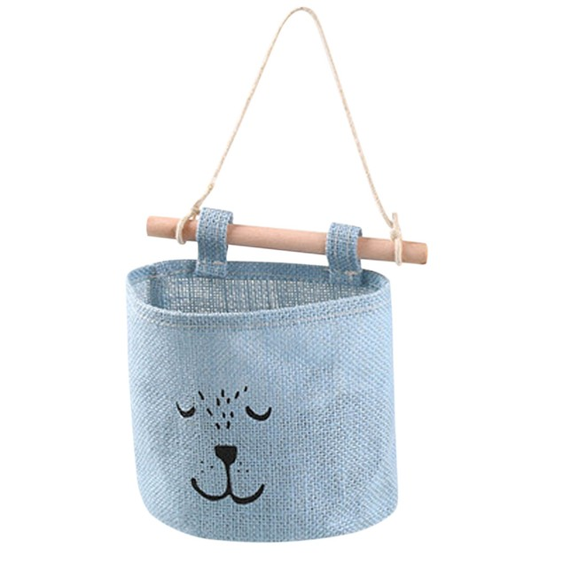 1pc Wall Hanging Storage Bags Navy Fabric Cotton Pocket