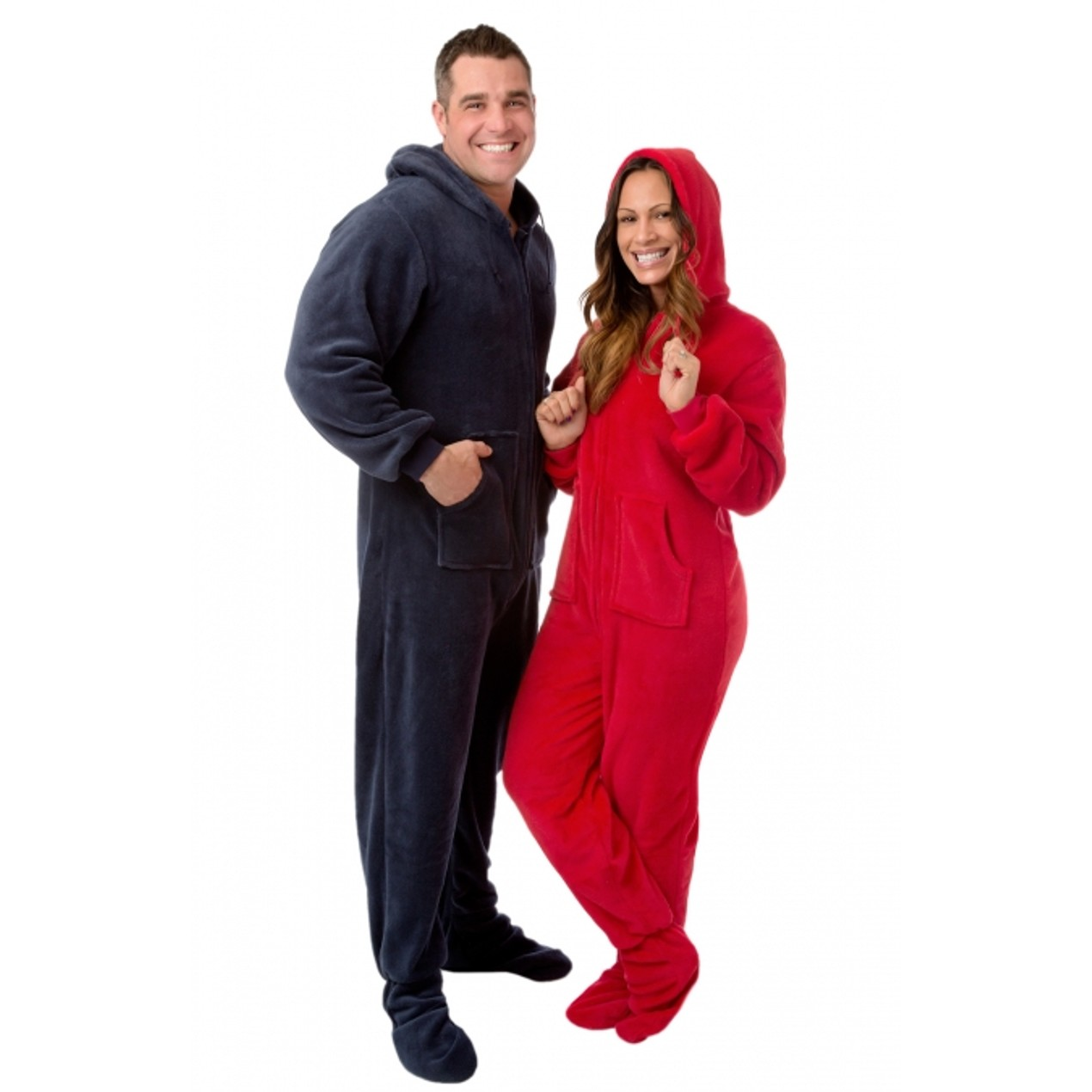 a210e1a8a Red Plush Hooded Adult Footed Pajamas Footie Drop Seat Mens Womens ...