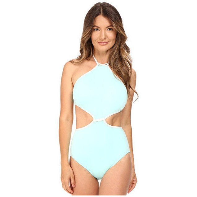 Kate Spade New York Cut Out High Neck Maillot Caribbean Blue SIZE M