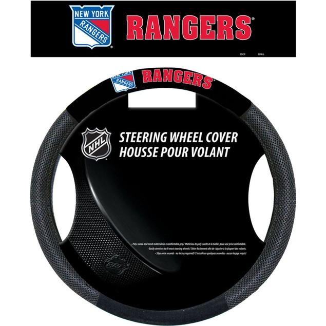 New York Rangers Steering Wheel Cover NHL Hockey Team Logo Poly Mesh