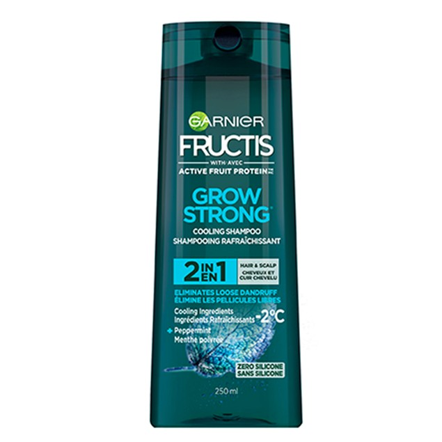 Garnier Grow Strong 2 In 1 Cooling Shampoo with Peppermint, Hair and Scalp