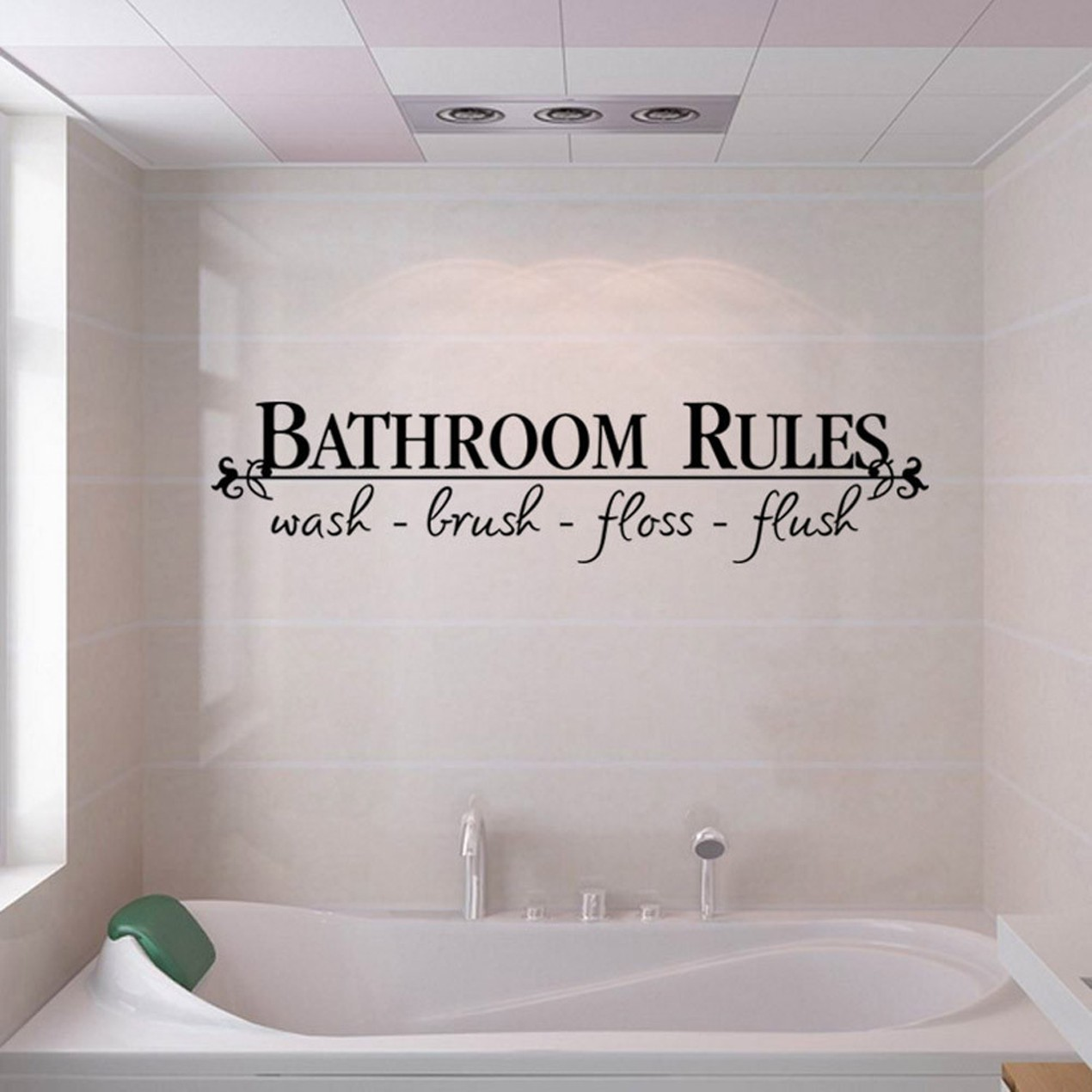 Removable Bathroom Rules Art Vinyl Wall Stickers Decals Mural Home ...