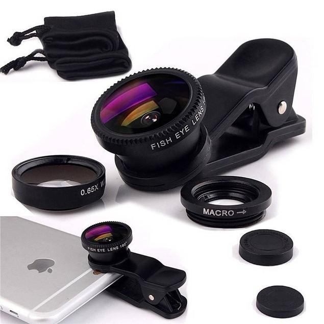 Mobile Phone Camera Wide+Macro+Fish Eye Lenses