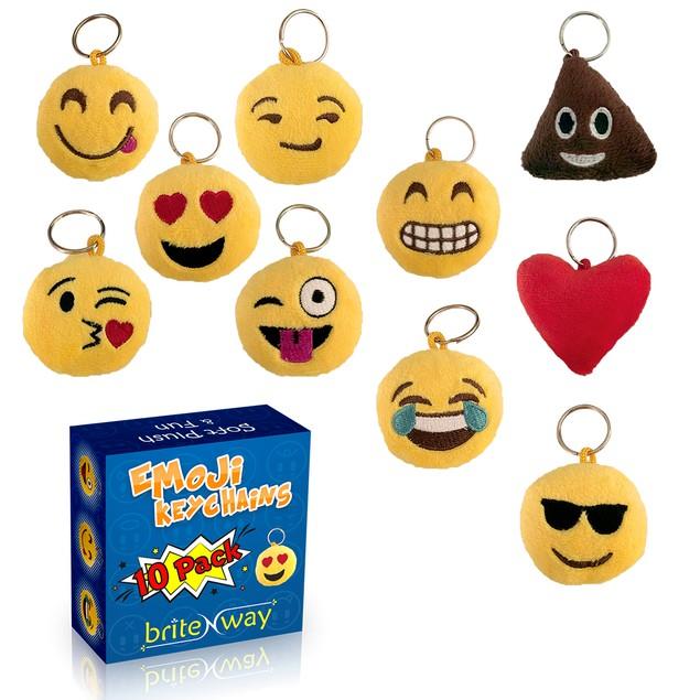 Emoji Keychain Round Faces Set of 10 - Cute Sweet Soft & Plush Yellow