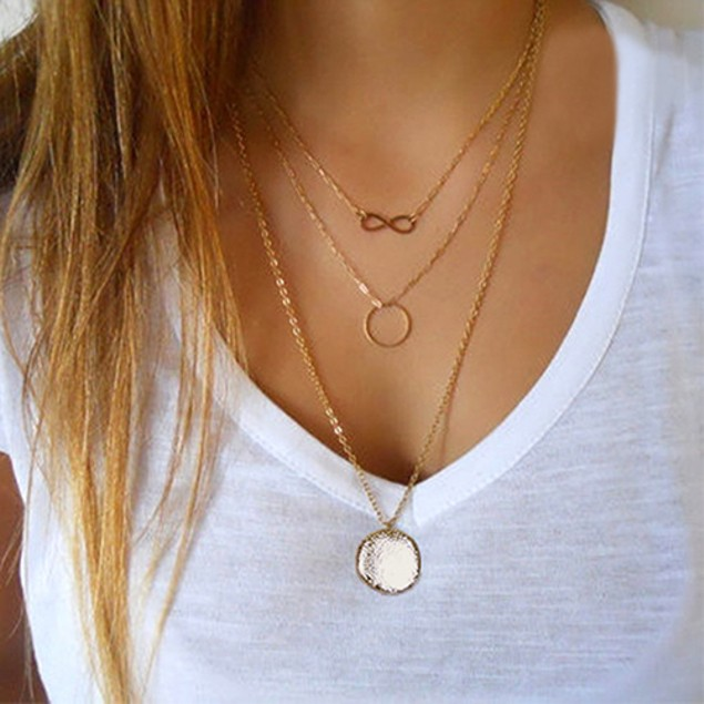 Layered Infinity Ring Disk Pendant Necklace