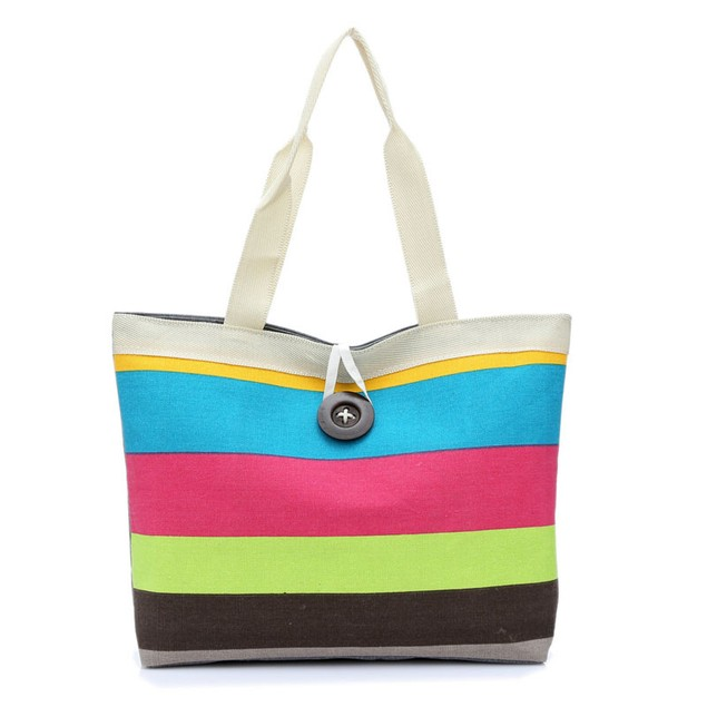 Lady Colored Striped Shoulder Canvas Bag