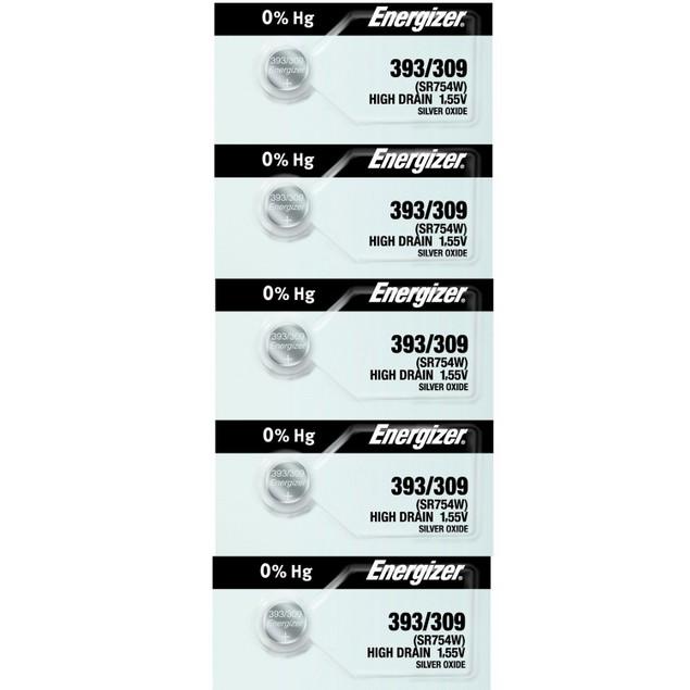 Energizer 393/309 (SR754/W/SW) Silver Oxide Watch Batteries (5 Pack)