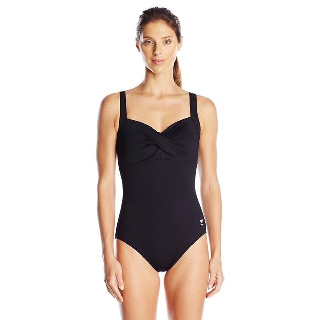 NWT TYR Women's Twisted Bra Solid Controlfit Top Black SZ: 8
