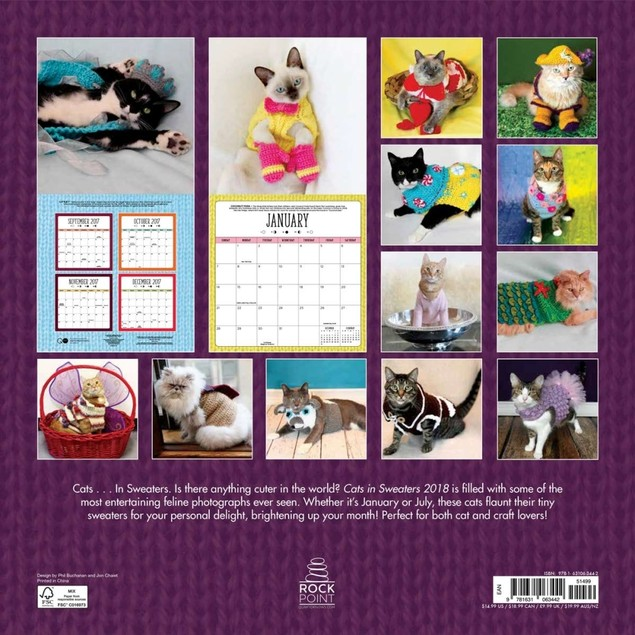 Cats in Sweaters Wall Calendar, Funny Cats by Quarto