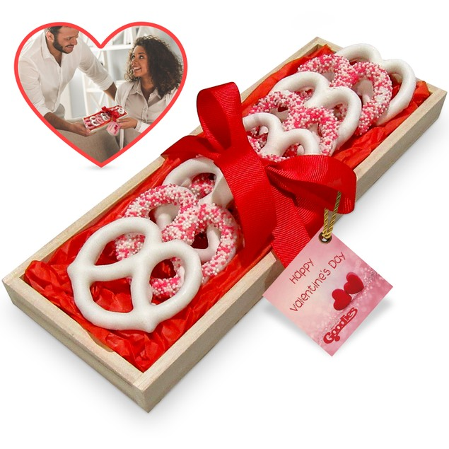 8 Yummy ChocolateHand Dipped Covered Pretzels - Romantic Valentine's Tray