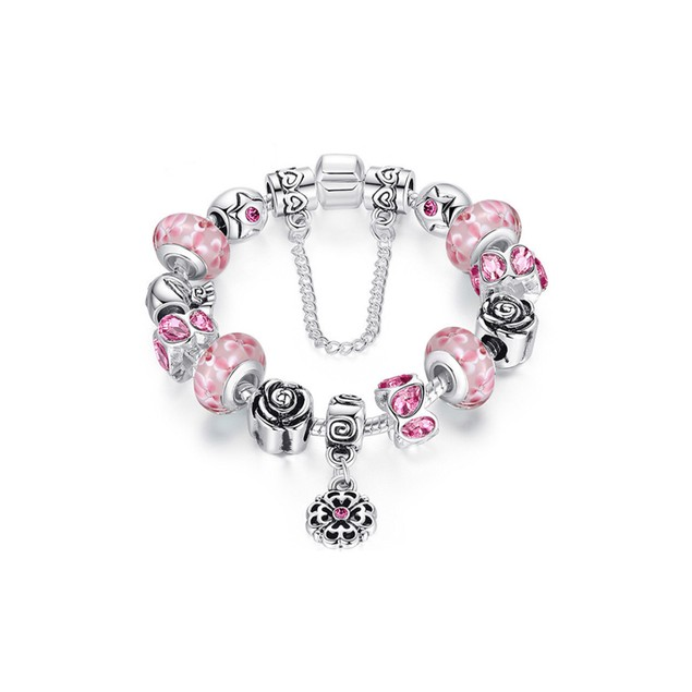 Pink Austrian Crystal And Murano Beads Bracelet With flower Charm