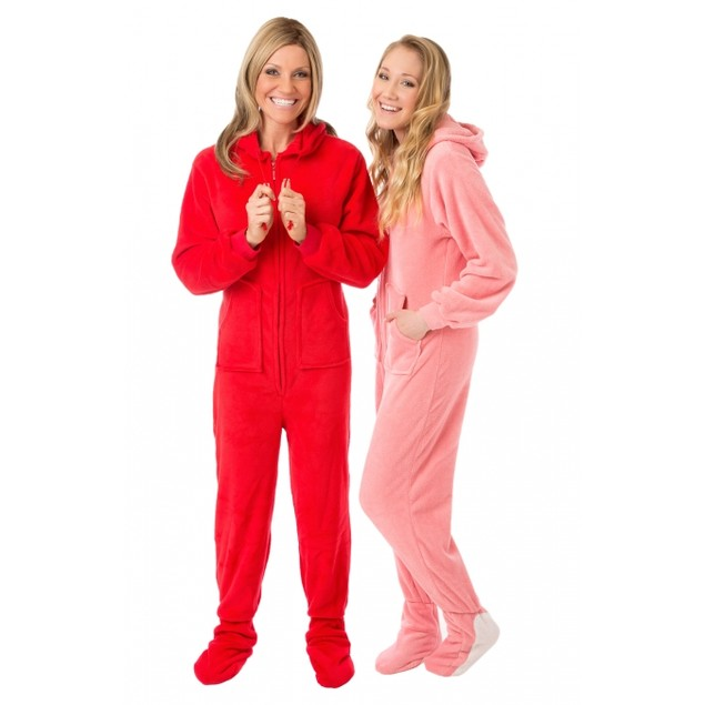 Red Plush Hooded Adult Footed Pajamas Footie Drop Seat Mens Womens PJs Soft