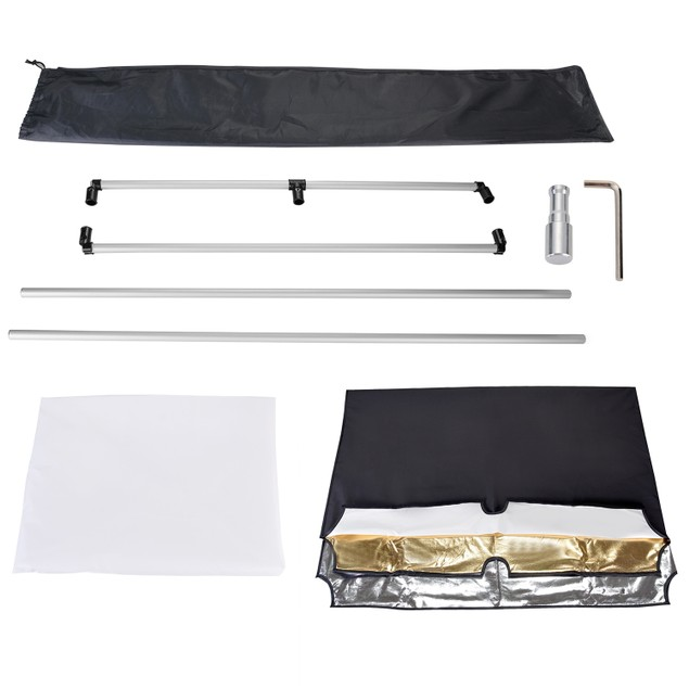 Photo Studio and Fabric Panel Light Reflector with Bracket & Bag
