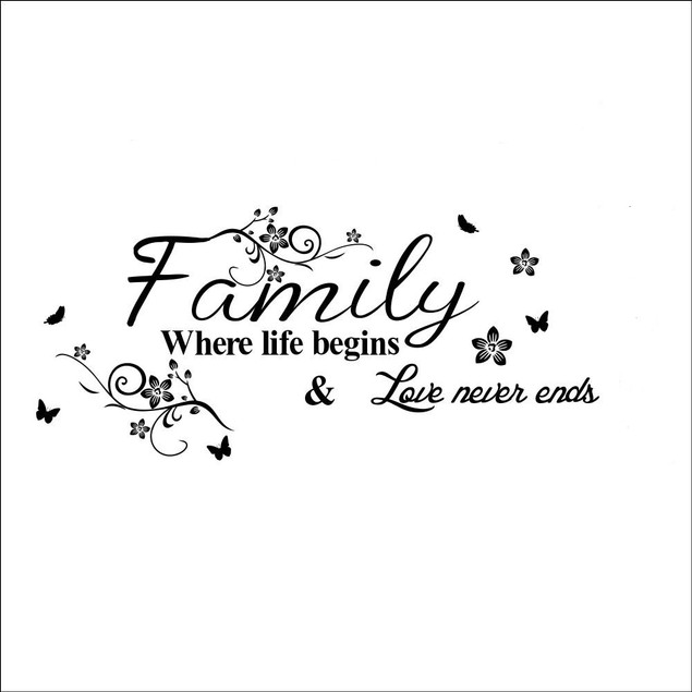 Family Where Life Begins Love Never Ends Removable Wall