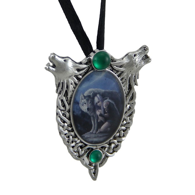 Anne Stokes Protector Wolf Head Celtic Knot Cameo Womens Pendant Necklaces