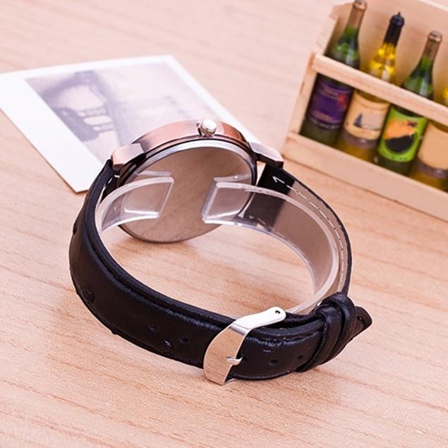 Unisex Soft Faux Leather Musical Note Piano Dial Quartz Wristwatch