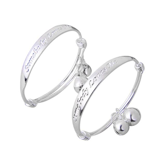 2pcs Silver Plated Baby Bell Bangle Bracelet
