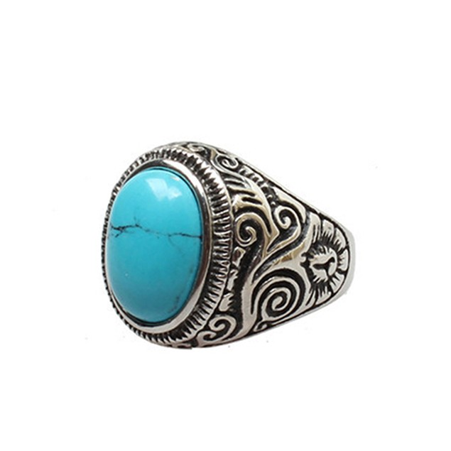 Men Classic Vintage Style Big Turquoise Ring