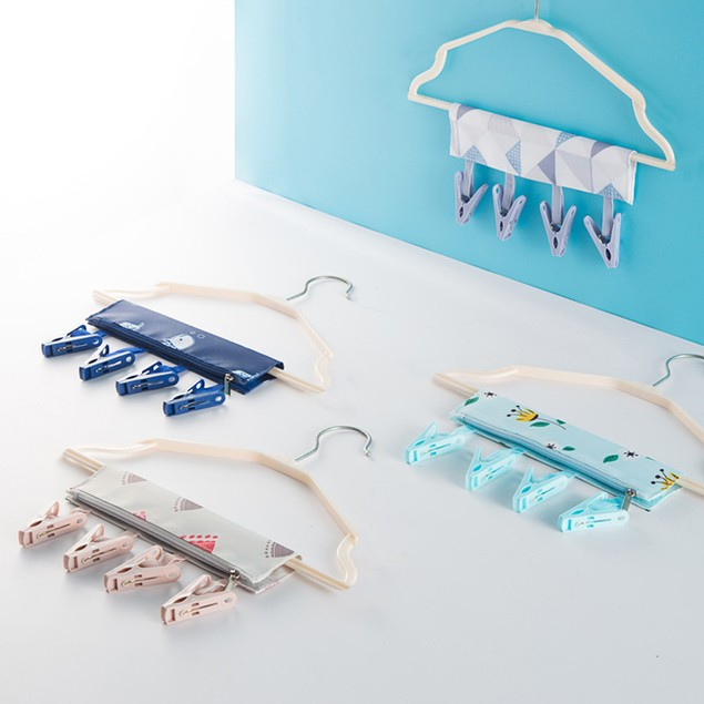 Portable Travel Folding Cloth Storage Hanger Clips