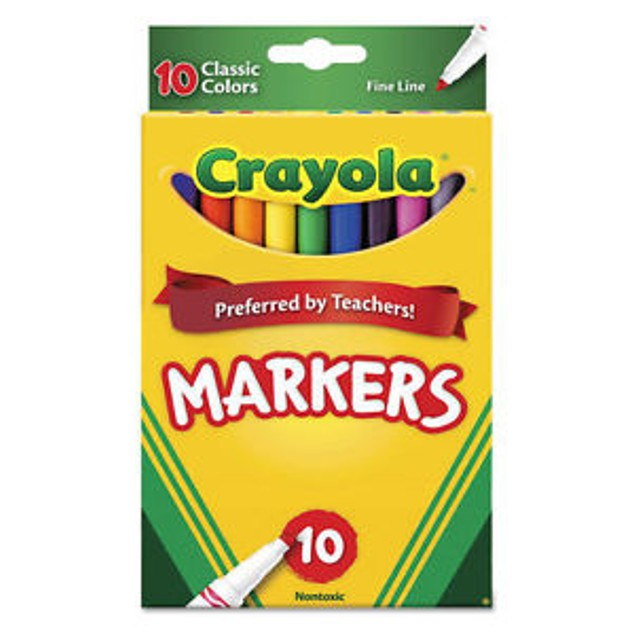 Crayola Classic Fine Line Markers Assorted Colors 10 Count, 2 Pack