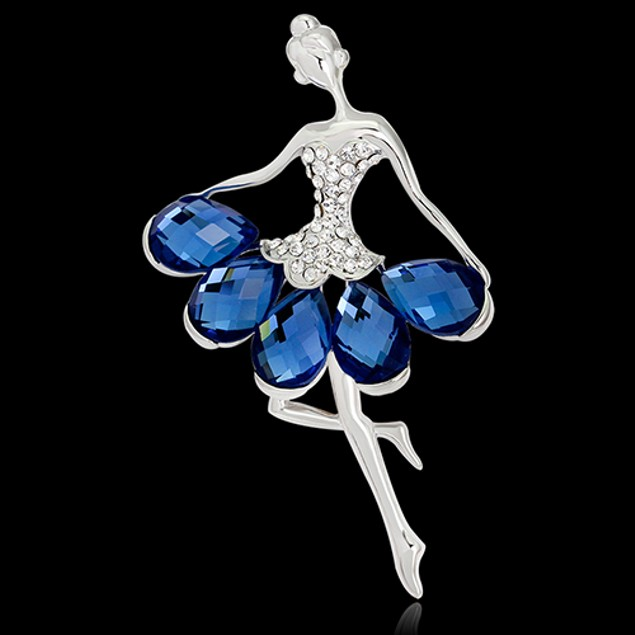 Women Luxury Dancing Girl Rhinestone Brooch