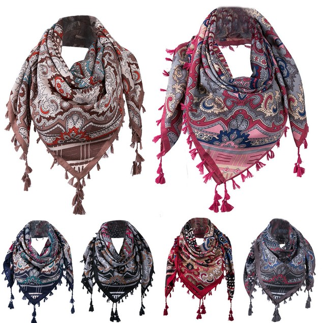 Women Winter Autumn Square Scarf Tassel Floral Printed Wraps Shawls