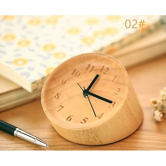 Wooden Alarm Clock, Modern Style Wood Table Clock, Beech Wooden Clock