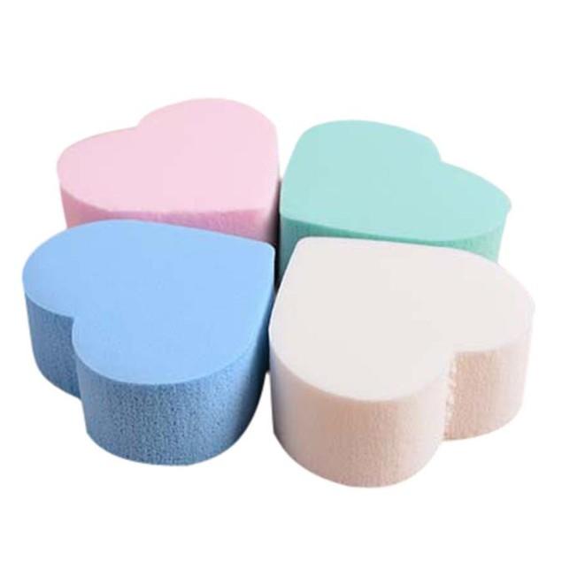 4-Piece Pro Makeup Blender Foundation Puff Heart-shaped Sponges