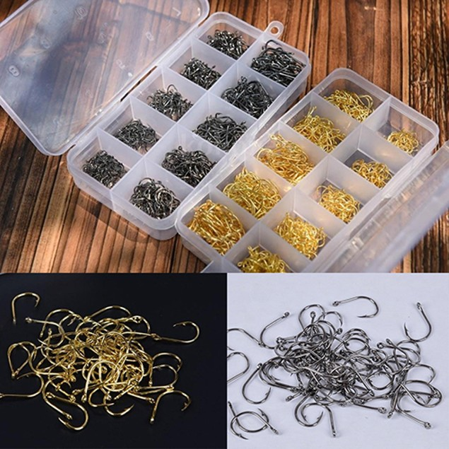 500 Pcs Fish Jig Hooks with Hole Fishing Hook Tackle Box