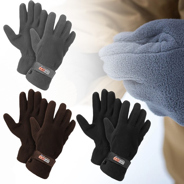 3-Pairs Men's Fleece Lined Adjustable Warm Winter Gloves