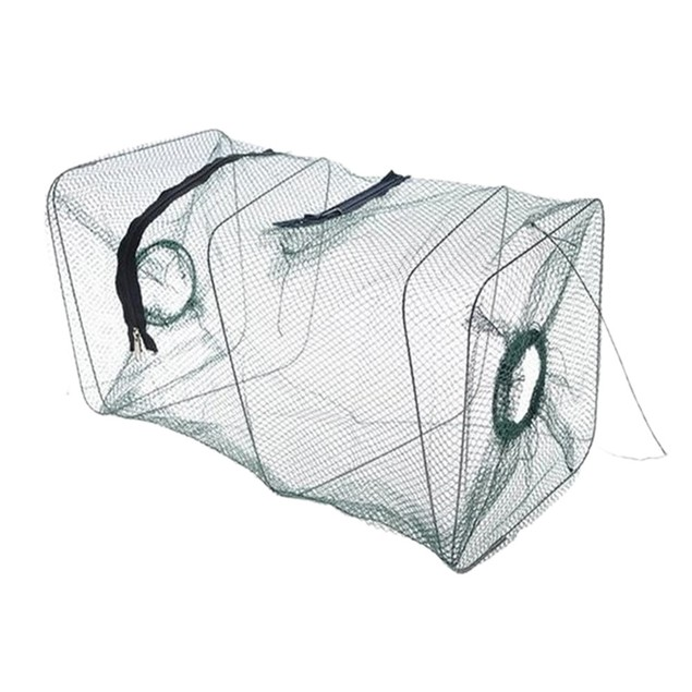 Folding Fish Minnow Crab Fishing Bait Shrimp Trap Cast Net Cage