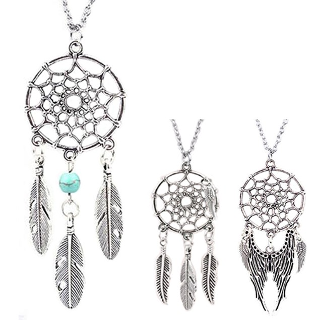 Women Turquoise Feather Wing Pendant Necklace