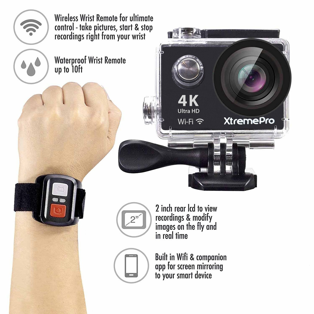 XtremePro 4K HD Sports Camera with Wrist Remote + 20