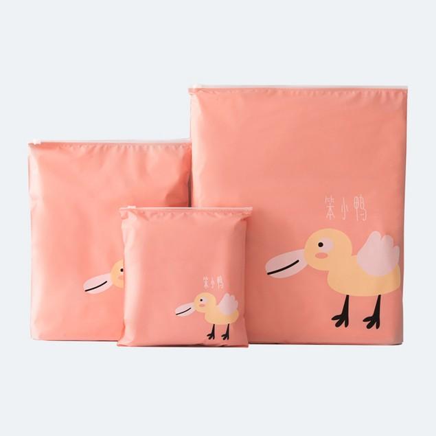 3Pcs Travel Portable Storage Bags Cartoon Pattern Waterproof Storage