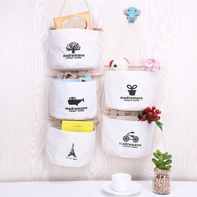 1pc Cute Pattern Hanging Storage Bag Cotton Debris Pouch Wall Combination